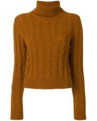 The Gigi | Brown Cable Knit Turtleneck Jumper | Lyst