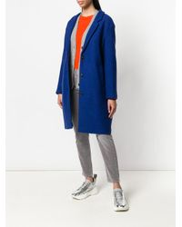 Closed - Blue Buttoned Single Breasted Coat - Lyst