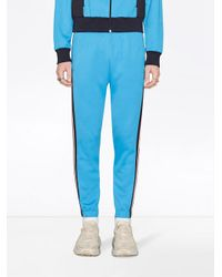 Gucci - Blue Technical Jersey Jogging Pants for Men - Lyst
