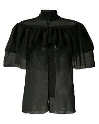 Rodarte - Black Frilled Sheer Shirt - Lyst