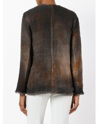 Avant Toi - Brown Cross Body Overdyed Knitted Jacket - Lyst