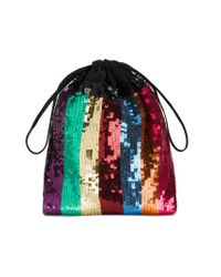 Attico | Metallic Sequin Embellished Striped Pouch | Lyst