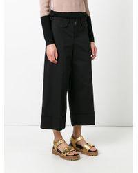 N°21 - Black Wide-legged Cropped Trousers - Lyst