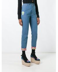 Olympia Le-Tan - Blue Floral Turn-up Beaded Jeans - Lyst