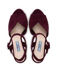 Prada Red High Platform Sandals