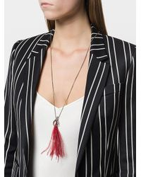 Ann Demeulemeester - Metallic Feather Detail Long Necklace - Lyst