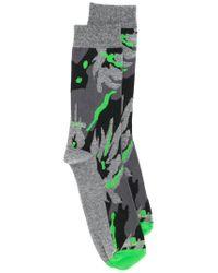 DIESEL - Gray Camouflage Patterned Ankle Socks for Men - Lyst