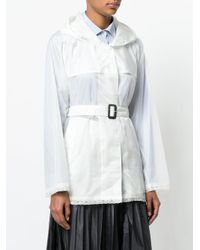 Prada - White Belted Lightweight Jacket - Lyst
