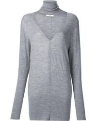 TOME - Gray 'deep V Turtleneck' Sweater - Lyst