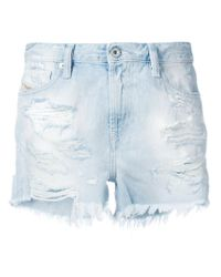 DIESEL - Blue Distressed Patch Denim Shorts - Lyst