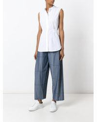 Erika Cavallini Semi Couture - Gray Plaid Wide-legged Cropped Trousers - Lyst