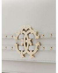 Roberto Cavalli White Studded Logo Shoulder Bag
