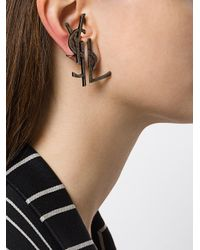 Saint Laurent - Gray Monogram Deconstructed Earrings - Lyst