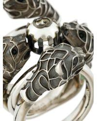 Gucci - Metallic Embellished Metal Ring - Lyst