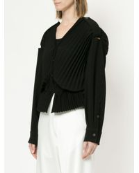 Christopher Esber - Black Pleated V-neck Blouse - Lyst