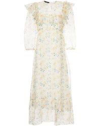 Rochas - Multicolor Floral Print Sheer Panelled Dress - Lyst