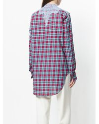 Ermanno Scervino - Blue Check And Lace Collarless Shirt - Lyst