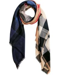 Burberry - Black Ombré Check Scarf for Men - Lyst