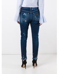 DSquared² - Blue Ski Gaiter Bleached Jeans - Lyst