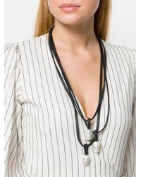 Monies - Black Iridescent Multi Pendant Necklace - Lyst