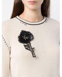 L'Autre Chose - Black Embellished Flower Brooch - Lyst