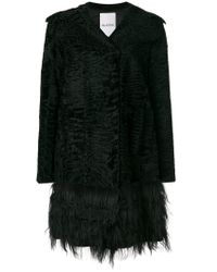Valentino | Black Persian Lamb Fur Trim Coat | Lyst