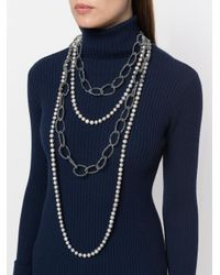 Night Market Gray Faux Pearl And Bead Layered Necklace