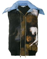 Stella McCartney - Blue Paint Print Hooded Gilet - Lyst