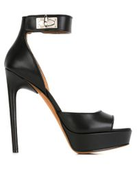 Givenchy - Black Shark Lock Leather Sandals - Lyst