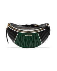 Miu Miu - Black And Green Two-tone Matelassé Leather Belt Bag - Lyst