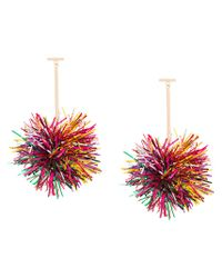 Tuleste - Metallic Pom Pom Drop Earrings - Lyst