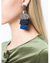 Oscar de la Renta | Gray Long Silk Tiered Tassel Earrings | Lyst