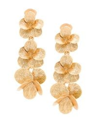 Oscar de la Renta - Metallic 3d Flower Drop Earrings - Lyst