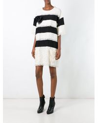 Faith Connexion | White Lace Overlay Striped Dress | Lyst