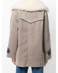 Marc Jacobs - Brown Corduroy Fur-trim Coat - Lyst