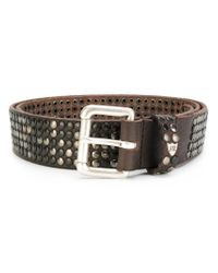 HTC Hollywood Trading Company - Brown Studded Belt for Men - Lyst