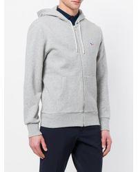 Maison Kitsuné - Gray Zipped Hoodie for Men - Lyst