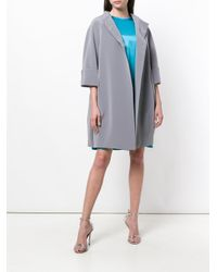 Gianluca Capannolo Gray Cropped Sleeve Collarless Coat
