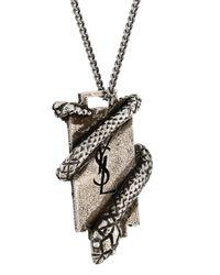 Saint Laurent - Metallic Ysl Serpent Plaque Necklace - Lyst