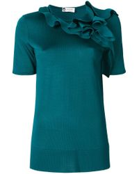Lanvin - Blue Ruffle-trimmed Top - Lyst