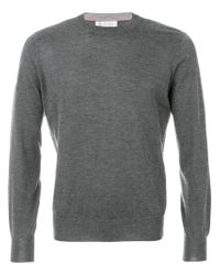 Brunello Cucinelli | Gray Round Neck Jumper for Men | Lyst