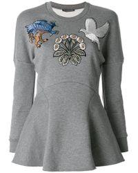 Alexander McQueen - Gray Embroidered Sweatshirt Top - Lyst