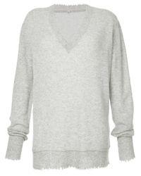 R13 - Gray V-neck Jumper - Lyst