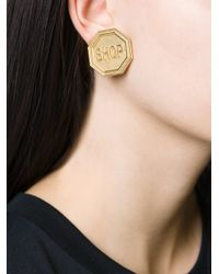 Moschino - Metallic Shop Clip On Earrings - Lyst