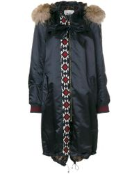 Bazar Deluxe - Blue Embroidered Detail Parka Coat - Lyst
