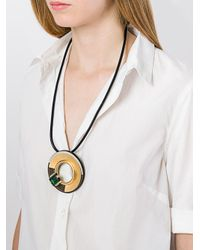 Marni | Black Circular Disc Necklace | Lyst