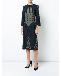 Yigal Azrouël - Green Argyle Bell Sleeve Jacquard Dress - Lyst