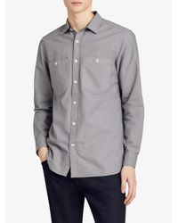 Burberry - Gray Oxford Shirt for Men - Lyst
