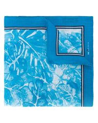 Kiton - Blue Floral Print Pocket Square for Men - Lyst