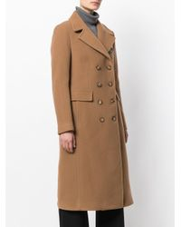 Dondup - Brown Double Breasted Coat - Lyst